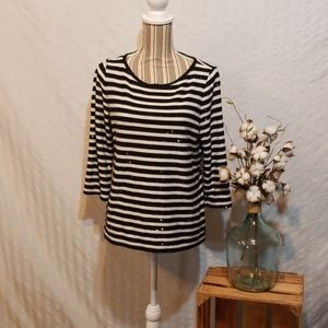 Talbots Black and White Striped Sweaters